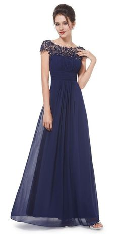 Round Neck Short Sleeve Evening Gown Maxi Dress Cotillion Dresses b710d84095b0