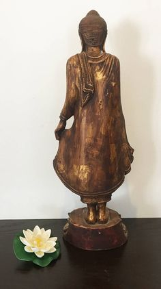 Vintage One of a Kind Myanmar beautiful standing Buddha with real gold leaf by DragonflyDesignLab on Etsy