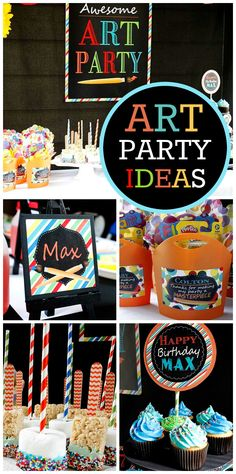 An amazing Art Party with cupcakes, chocolate dipped marshmallows, and apron party favors!  See more party planning ideas at CatchMyParty.com!