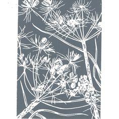Cow Parsley grey - Handcut Linocut Print