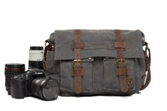 Canvas DSLR Camera Bag Cross Body Messenger Camera Bag for Canon EOS Nikon Sony Olympus 2138L