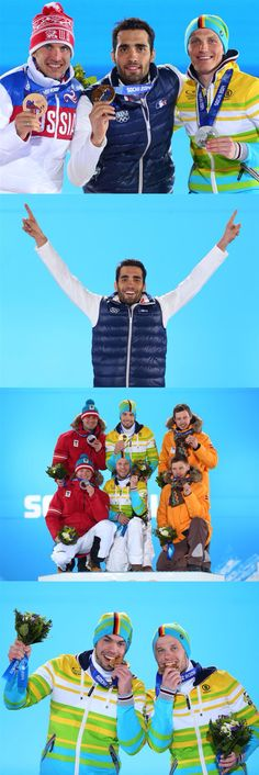 Sochi 2014 Day 8 / Medal Ceremony/ (L-R) Bronze medalist Evgeniy Garanichev of Russia, gold medalist Martin Fourcade of France and Silver medalist Erik Lesser of Germany celebrate on the podium during the medal ceremony for the Men's Individual 20 km, (L-R) Silver medalists Andreas Linger and Wolfgang Linger of Austria , gold medalists Tobias Wendl and Tobias Arlt of Germany and bronze medallists Andris Sics and Juris Sics of Latvia celebrate on the podium during the medal ceremony for Men's…
