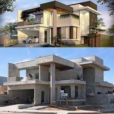 Modern House Facades, Modern Exterior House Designs, Dream House Exterior, Modern Architecture House, Modern House Design, Exterior Design, Building Architecture, Architecture Design, Minimalist House Design