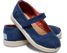 Toms-Tiny-Mary-Jane-Navy-Blue-Canvas-11-New-With-Box
