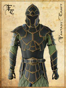 Leather plate armor from Fantasy Craft. With the gold edging and lighter green gambeson, it reminds me of armor from Fire Emblem. Larp Armor, Cosplay Armor, Knight Armor, Medieval Armor, Cosplay Costumes, Samurai Armor, Fantasy Armor, Fantasy Weapons, Armadura Cosplay