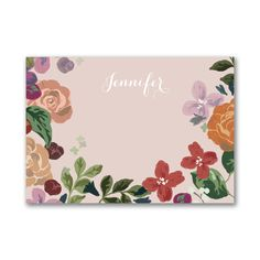Beautiful boho flowers grow in front of a pretty pink background. Perfect for those casual notes and would also make a great gift. Stationery Items, Personalized Stationery, Corporate Christmas Gifts, Boho Flowers, Types Of Printing, Teacher Appreciation Gifts, Boho Wedding, Dream Wedding, Note Cards