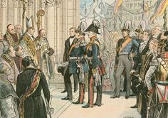Frederick William IV, King of Prussia (1795 -1861), at Cologne Cathedral in 1848. Illustration from House of Hohenzollern in Pictures and Words by Carl Rohling and Richard Sternfeld. Published by Martin Oldenbourg in Berlin, c 1900.