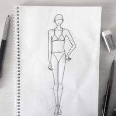 Make Basic Bodice Sloper - Patten making courses Dress Design Sketches, Fashion Design Sketchbook, Fashion Design Drawings, Fashion Sketches, Walking Poses, Fashion Sketch Template, Fashion Figure Drawing, Fashion Design Classes, Catwalk Models