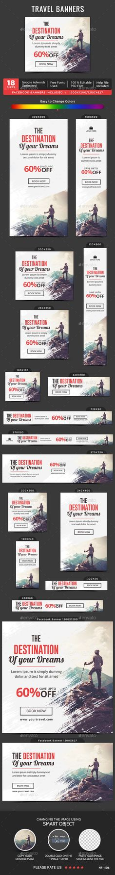"""Travel Web Banners Template PSD. Download here: <a href=""""http://graphicriver.net/item/travel-banners/15023078?ref=ksioks"""" rel=""""nofollow"""" target=""""_blank"""">graphicriver.net/...</a>"""