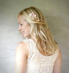 Vid de pelo Floral nupcial. Marfil y Blush por ElevenSkiesStudio