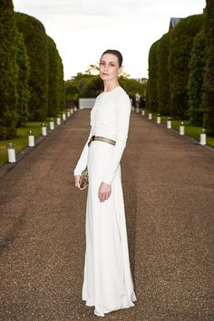 Erin O'Connor in the white silk Clifton gown from Ralph Lauren Collection