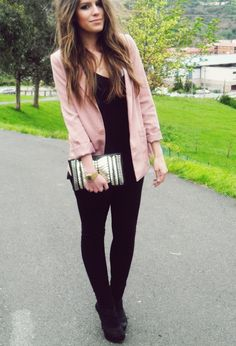 A pop of color to add flair to a rather monochromatic outfit. Better yet that it's pink!