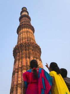 Indian Women Watching Qutb Minar and its Monuments (UNESCO World Heritage Site), Delhi, India Photographic Print by Keren Su at AllPosters.com