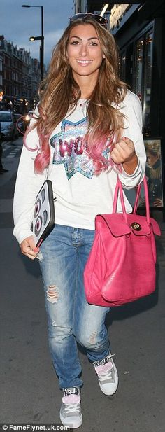Perfectly coiffed: Luisa grinned as she headed home with her newly dip-dyed locks on display