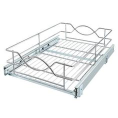 Visit the Home Depot to buy Real Solutions 14 in. Multi-Use Basket in Frosted Nickel Basket Organization, Kitchen Cabinet Organization, Kitchen Storage, Cabinet Organizers, Inside Cabinets, Base Cabinets, Cupboards, Pull Out Cabinet Drawers, Rolling Shelves