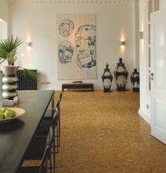objets de l'art contemporain et revêtement de sol dalles en liège Wicanders