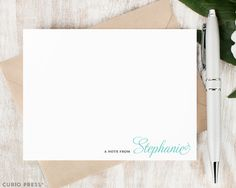 Personalized Notecard Set / Flat Personalized Stationery Cards and Envelopes / Professional Simple Custom Notes // SIDELINE SCRIPT