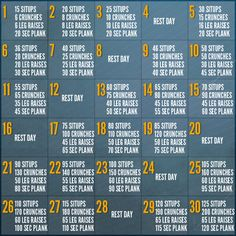 30 Day Abs Challenge: this makes my abs hurt looking at this schedule