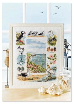Birds of our shores by Amanda Butler from Cross Stitch Colection no 225 2013 Cross Stitch Sea, Cross Stitch Boards, Cross Stitch Needles, Cross Stitch Samplers, Cross Stitch Animals, Cross Stitching, Cross Stitch Embroidery, Cross Stitch Designs, Cross Stitch Patterns