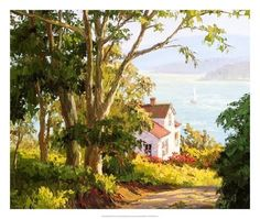 Trademark Fine Art 'Bayside Digs' Canvas Art by Erin Dertner, Size: 35 x White Landscape Drawings, Watercolor Landscape, Landscape Paintings, Watercolor Paintings, Pintura Colonial, Belle Image Nature, Painting Prints, Art Prints, Beach Landscape