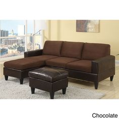 Poundex Dunkirk Sectional Couch in 2 tone Microfiber & Faux Leather (Chocolate), Brown