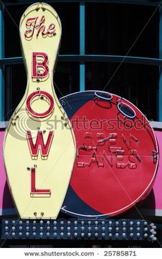 """""""Vintage neon sign for a bowling alley"""" Greeting Cards & Postcards by Jeff Knapp Old Neon Signs, Vintage Neon Signs, Old Signs, Advertising Signs, Vintage Advertisements, Vintage Ads, Vintage Photos, Retro Signage, Neon Moon"""