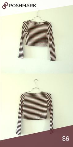 Cute Striped Long Sleeve Crop Top!! Hey Poshers grab this perfect for summer kits Cute Striped Long Sleeve Crop Top!! Tops Crop Tops