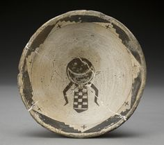 Artist unknown, bowl, earthenware with slip and pigments.