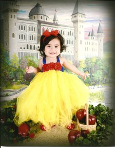 Beautiful Snow White Tutu Dress Costume with Red Hair Bow for Baby Girl 6-18 Months First Birthday by AverysCoutureLook on Etsy