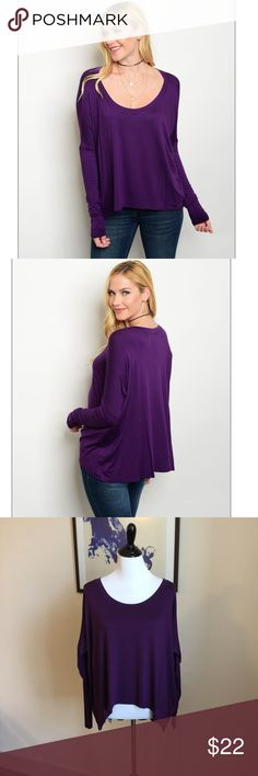 """Dark Purple Top Long sleeve scoop neck jersey top. Super Soft and Comfy!! Flows and Relaxed fit. Measurements: Small: Bust armpit to armpit: 27"""". Length 24"""". Medium: Bust armpit to armpit: 28"""". Length: 25"""". Large: Bust armpit to armpit: 29"""". Length: 26"""". 🌸Bundle to save on shipping. 😘Offers are always welcomed since I like to move my stuff fast Tops"""