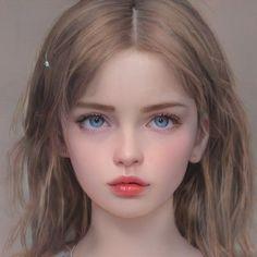 Fantasy Art Women, Beautiful Fantasy Art, Digital Art Girl, Digital Portrait, Anime Girl Cute, Anime Art Girl, Girl Face, Woman Face, Belle Silhouette