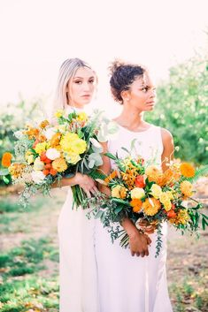 Same Sex Wedding Inspiration with Bright Citrus Decor – Alycia Moore Photography 29 Add color and a zesty burst of life to your wedding with fruity decors! #bridalmusings #bmloves #decor #citrus #weddingdecor #orange #ido #weddinginspo #weddinginspiratio #coolbride