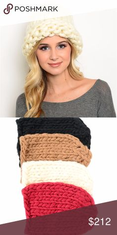 KNITTED BEANIE MULITPLE COLOR OPTIONS Oversized knitted beanie. Stay warm in this chic beanie! Color options are available to select before purchase. listing is for 1 beanie. Colors available or black, cream, burgundy or tan  great gift idea Accessories Hats