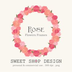 Rose Clip Art, Flower Border Clip Art, Frames, Royalty Free Clip Art, N03, Valentine, Instant Download on Etsy, $4.95