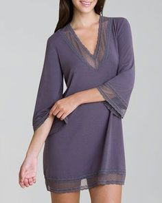 Imagine a full-length lace trimmed stretchy soft full length movie night caftan. Gisele Tunic by Eberjey at Neiman Marcus. Sleepwear Women, Lingerie Sleepwear, Nightwear, Prince, Gisele, Decoration, Night Gown, Women Lingerie, Lounge Wear