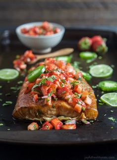 Nutritious Snack Tips For Equally Young Ones And Adults Spice Rubbed Cedar Plank Salmon Topped With A Refreshing Strawberry Salsa. This Salmon Is The Ultimate Summer Main Dish And Definitely A Crowd Pleaser Healthy Salmon Recipes, Easy Healthy Dinners, Quick Easy Meals, Fish Recipes, Grill Recipes, Cedar Plank Salmon, Cedar Planks, Quick Easy Dinner, Quick Dinner Recipes