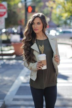 Spend the Day With Me Top. Pair this comfortable olive green top with cuffed, short sleeves with bold jewelry and a leather jacket for the Fall! Fall Winter Outfits, Autumn Winter Fashion, Autumn Fashion, Shop Dress Up, Olive Green Top, Bold Jewelry, Fall Clothes, Short Sleeves, Leather Jacket
