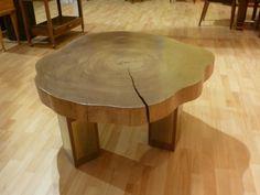 petite table de salon basse design bois teck pas chère tronc d'arbre meubles