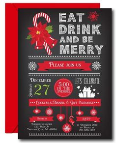 Buy Eat, Drink and be Merry Christmas Invitations from Announce It! Invitation Design, Invitation Cards, Invites, Merry Christmas, Christmas Bulbs, Christmas Party Invitations, Gift Exchange, Lets Celebrate, Invitations