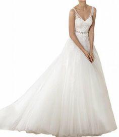 Gorgeous Bride Elegant Traeger Lang Empire Tuell Spitze Hof-Schleppe Brautkleider Hochzeitskleider: Amazon.de: Bekleidung