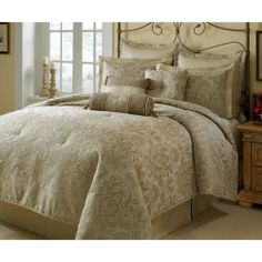 """Hampton Hill Alexandria 10 Piece Comforter Set - Khaki - King by Hampton Hill. $400.00. Size: King:96x110""""/20x36""""+2""""/26x26+2""""/78x80+16""""/18x18""""/12x18""""/D7x19"""". Live in luxury with this beautiful bedding ensemble. This all over Jacquard fabric in a neutral col. Patten: Damask. Material: Synthetic Blend. Set Includes: 1 Comforter, 2 King Sham, 1 Bedskirt, 3 Euros, 3 Decorative Pillows. Live in luxury with this beautiful bedding ensemble. This all over Jacquard fabric in a neutral ..."""