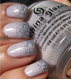 Lavender with rainbow glitter faded french