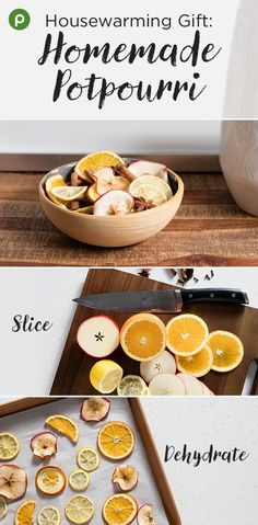 Here's a unique gift idea to congratulate someone on their new home! Create your own potpourri as a special welcome-to-the-neighborhood gift. Stop by Publix to pick up apples, oranges, lemons, bay leaves, and fragrant spices such as cinnamon sticks, whole cloves, and star anise. Simply dehydrate the fruits in your oven, then mix with the spices and place in a decorative jar or bowl for a thoughtful, warm, and deliciously scented gift. #DIYpotpourri
