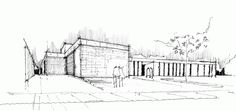 Gallery of 100 Architectural Sketches - 61 Environment Sketch, Environment Design, Built Environment, Modern Villa Design, Building Drawing, Perspective Drawing, Image 30, Urban Architecture, Dream House Exterior