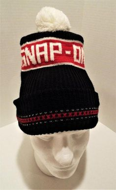SNAP-ON Vintage Winter Knit Hat Stocking Cap Black Red White One Size Used HTF #SnapOn