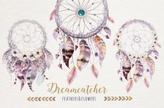 Watercolor tee pee, floral bouquets and arrows. Tribal collection. Bohemian destination beach wedding stationery. ______________________________________________________________________________ You will receive: - 12 dreamcatchers images with floral elements ( app. 4x6 inches) (PNG,