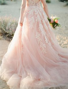 Pearls Wedding Dresses Blush Pink Long Bridal Gowns Lace Appliques Plus Size New In Clothing