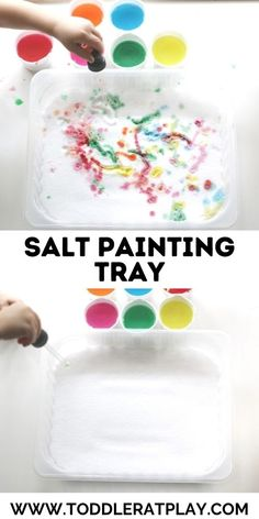 Simple and creative way to keep kids entertained and busy! #saltpainting #easytoddleractivities #finemotoractivity