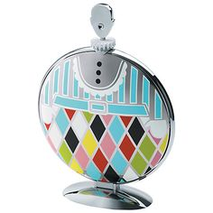 """The Alessi """"Fatman"""" Folding Cake Stand in Stainless Steel Mirror Polished With Decoration, Multicolor: Candy Dishes: Cake Stands Wedding Gift List, Quirky Decor, Fat Man, Alessi, Red Candy, Table Accessories, Serveware, Tableware, Marcel"""