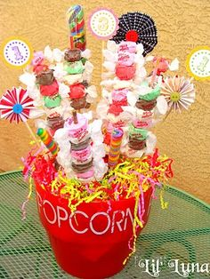 salt water taffy kabobs@ Sassy Soirees Aaliyah would love this. She loves salt water taffy. Circus Carnival Party, Carnival Birthday Parties, Carnival Themes, Candy Party, Party Treats, Party Fun, Party Time, Party Favors, Candy Kabobs
